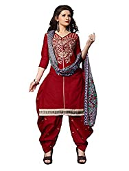Shopping Point Maroon Cotton Anarkali Unstitched Dress Material