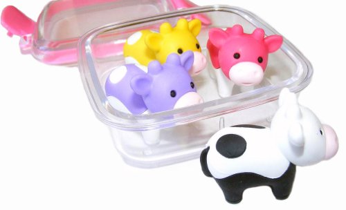 Iwako Japanese Erasers In A Mini Bento Box - Cows