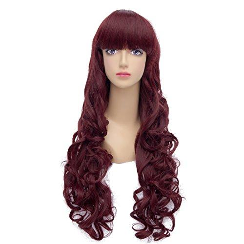 Amybria Anime Lolita longs boucles Vague rouge fonce resistant a la chaleur Costume Cosplay Perruques