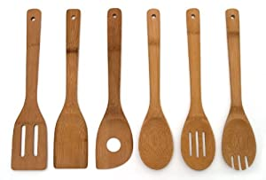 Lipper International 826 Set of 6 Bamboo Kitchen Tools, in Mesh Bag - Set Of 2