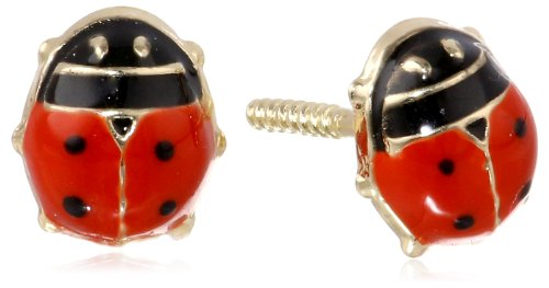 14K Yellow Gold And Red Enamel Ladybug Baby Earrings