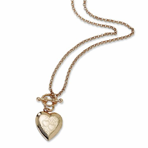 Rose-tone Heart Locket Decorative Toggle 18 Necklace