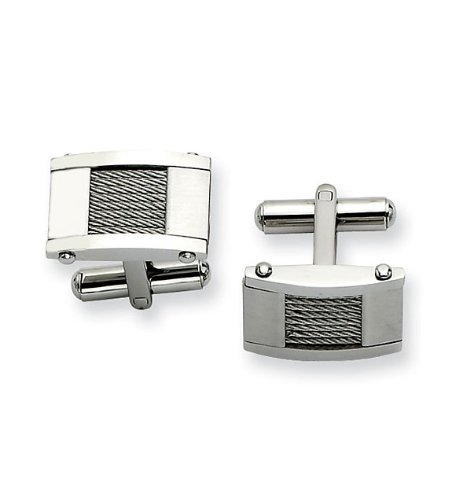 Mens Rectangular Cable Inlay Stainless Steel Cuff Links