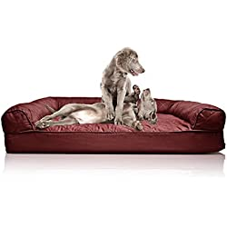 Furhaven Deluxe Quilted Sofa Orthopedic Pet Jumbo Size Bed (Wine Red)