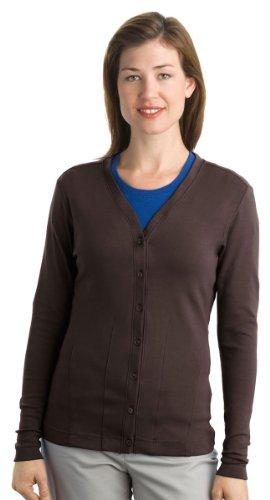 Port Authority L515 Ladies Cotton Cardigan,X-Large,Dark Chocolate Brown