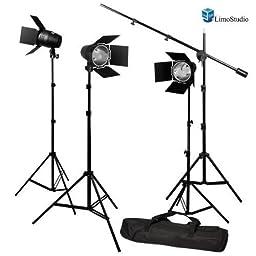 LimoStudio Photography Photo Studio Continuous Light Lighting Barn Door Light Kit with Overhead Boom Hair Light Kit, AGG1749