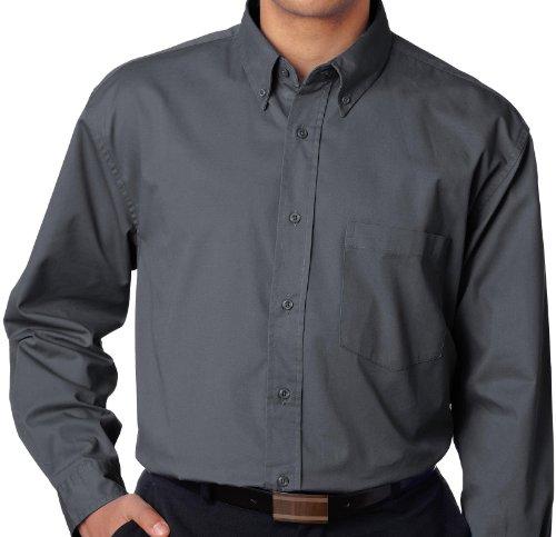 Ultra Club Big And Tall Men'S Long Sleeve Dress Shirt 4Xl Dark Gray
