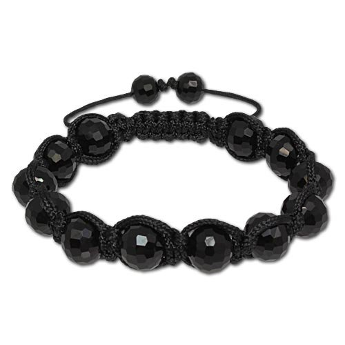 SilberDream Crystal Bead Shamballa Bracelet Black unisex with 10mm polished black beads SDA914