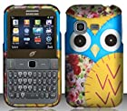Samsung S390G (StraightTalk/Net 10/Tracfone) Yellow Owl Design Hard Case Snap On Protector Cover + Car Charger + Free Neck Strap + Free American Flag Pin