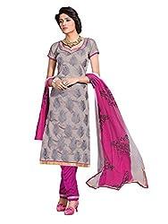 SR Women's Cotton Unstitched Dress Material (grey top Pink duptta)