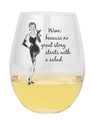Santa Barbara Design Studio No Great Story Lolita Stemless Wine Glass, Clear santa clara