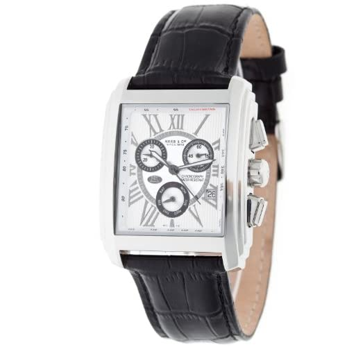 Haas-Cie-Mens-Quartz-Watch-with-White-Dial-Analogue-Display-and-Black-Leather