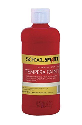 School Smart Tempera Paint - Pint - Red - 1