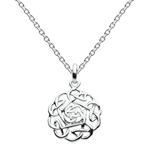 Heritage Womens Silver Plated Celtic Detailed Round Knot Necklace SP92814HP00, 18""