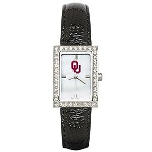 CZNSW22384Q-w-Black Leather University of Oklahoma Watch W  Cz Frame by NCAA Officially Licensed