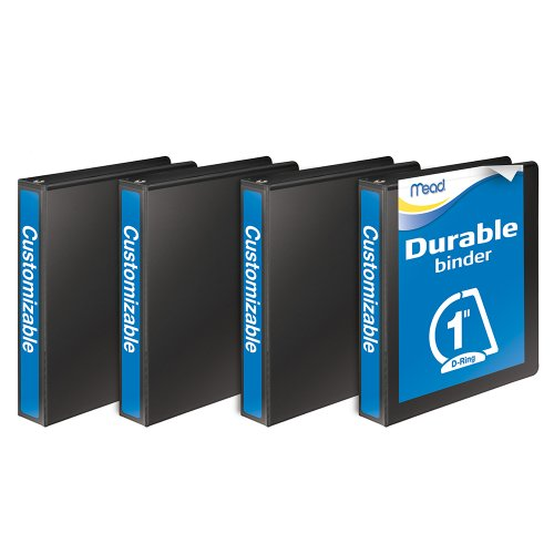 Mead Durable D-Ring View Binder, 1 Inch, Black, 4 Pack (W465-14BPP)