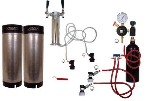 Cornelius Kegerator Tower Kit Two Faucet Homebrew, 20oz Tank