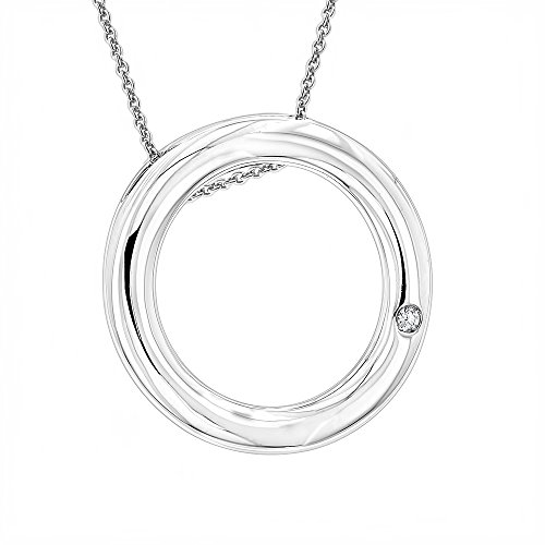 Ladies Real Diamond Circle Pendant in Sterling Silver with Chain LUXURMAN Love Quotes Necklace 0.01ct