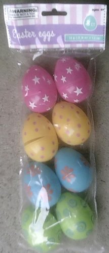 8 Plastic Decorated Easter Eggs