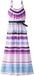Amy Byer Big Girls\' Printed Chiffon Maxi Dress, Multi Stripe, 7