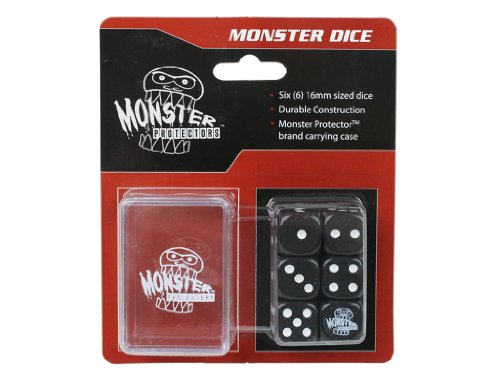 Dice - Monster Protectors Set of 6 D6 Logo Die with Pocket Carrying Case (Black) - 1
