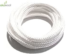 1 X 12' 3mm High Quality Ekowool Silica Wick Braided Hollow 3±0,3 Temp Res 1000°C