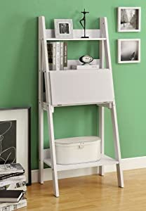 Monarch Specialties High Ladder Bookcase with a Drop-Down Desk, 61-Inch, White
