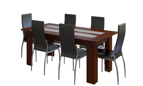 Frunty ensemble salle manger 6 chaises noires table bois for Ensemble salle a manger bois