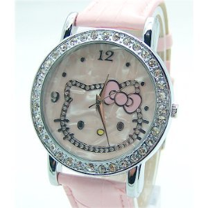 Hello Kitty Crystal and Mother of Pearl Background Pink Band Watch & Hello Kitty Pouch + Extra Battery - Brand New