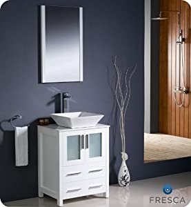 Fresca Torino 24 Modern Bathroom Vanity With Vessel Sink White Am