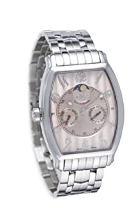 GV2 Mens Watch 4918B Tonneau Moon with Pink Sapphire Dial and Silver Stainless Steel Bracelet