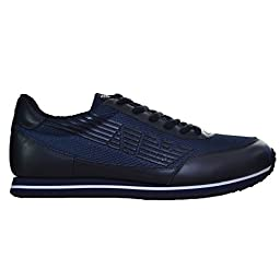 Armani Jeans Men\'s Blue Leather Trainer 10.5 UK/45 Euro