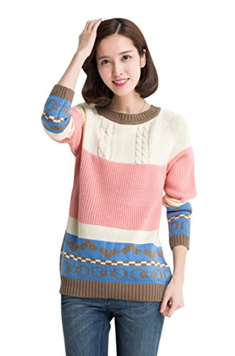 Am Clothes Womens Winter Fall O-Neck Multi-Color Pllover Knit Sweater front-533774