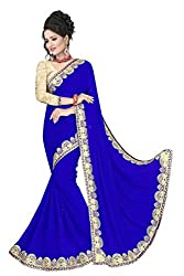 Sonani Women's Georgette Disigner Paety Wear Sarees with Blouse Piece (Blue26565)