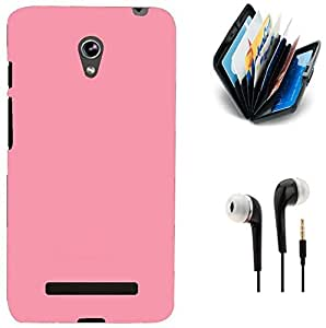 Tidel Stylish Rubberized Plastic Back Cover For Asus Zenfone 5 ( PINK ) With Credit Card Holder and 3.5mm Handsfree Earphone