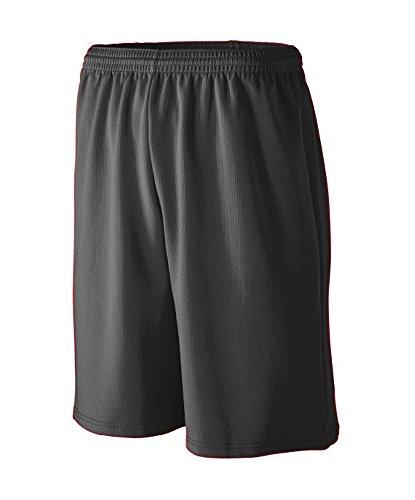 Augusta 809 Youth's Longer Length Wicking Mesh Athletic Short Black S