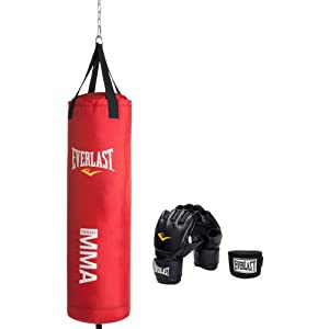 Everlast Mixed Martial Arts Heavy Bag Kit,Red, 70-Pound)