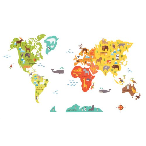 Petit Collage Fabric Wall Decal, World Map front-197193