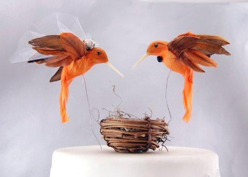 """Colibri gâteau :  Hummingbird """"mariée et marié dansants pour gâteau de mariage de mandarine et d'Orange"""