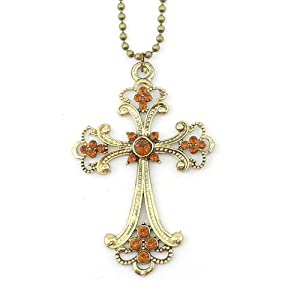 niceEshop(TM)Classic Vintage Champagne Cross Pendant With Chain