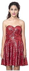 Izna Women's Slim Fit Dress (IDWD1006RD-Small, Red, Small)