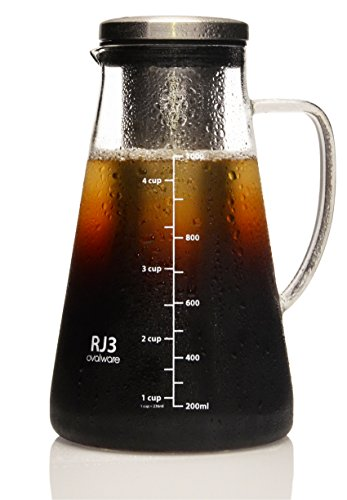 Airtight Cold Brew Iced Coffee Maker and Tea Infuser with Spout - 1.0L Ovalware RJ3 Brewing Glass Carafe with Removable Stainless Steel Filter (Ball Maker Original Best Ice compare prices)