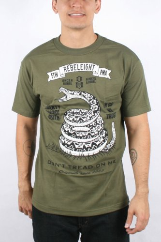 Rebel8 - Don't Tread On Me Mens T-shirt in Army, Size: Small, Color: Army