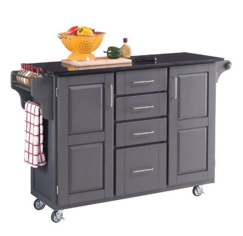 Cheap Kitchen Cart with Black/ White Granite Top in Gray Finish (VF_HY-9100-1086)