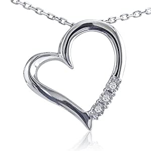 Sterling Silver and Diamond Three-Stone Heart Pendant on an 18 Chain