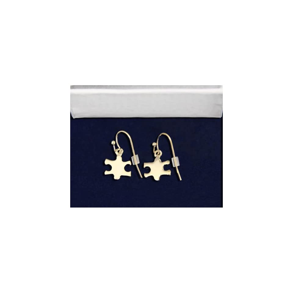 Autism Gold Puzzle Piece Earrings (Retail)