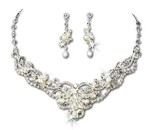 Silver Tone & Ivory Freshwater Pearl Rhinestone Bridal Wedding Necklace Earring Set