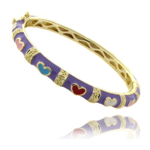 Lily Nily 18k Gold Overlay Lavender Enamel Multi Colored Heart Design Children's Bangle