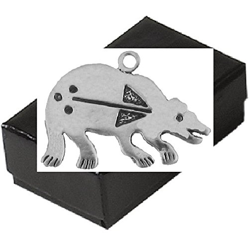 Gift Boxed Sterling Silver Bear Charm Primitive Animal Jewelry Pendant front-835463