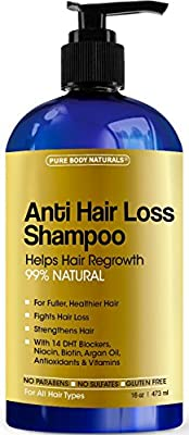 Pure Body Naturals, Argan Oil Hair Loss Prevention Therapy Shampoo for Hair Regrowth 16 Oz - Sulfate Free - with Biotin - 3 Months Supply